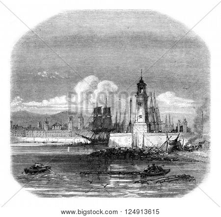 Old lighthouse of the port of Barcelona, vintage engraved illustration. Magasin Pittoresque 1857.