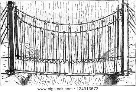Suspension bridge ropes, vintage engraved illustration. Magasin Pittoresque 1847.