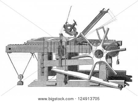 Lithographic press, vintage engraved illustration. Magasin Pittoresque 1847.