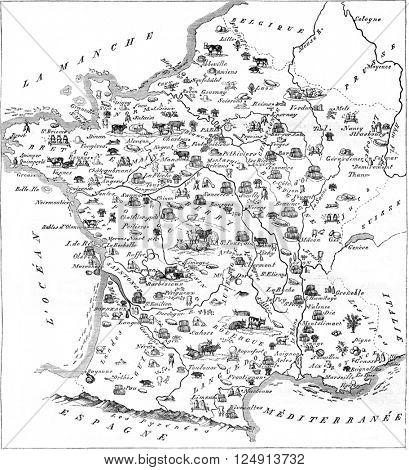 Gastronomic map of France, vintage engraved illustration. Magasin Pittoresque 1847.