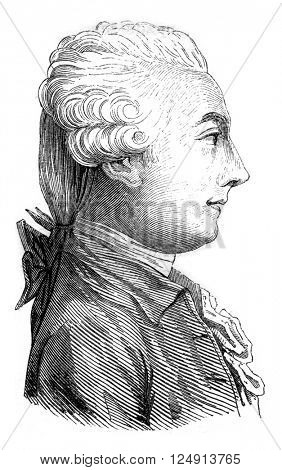 Portrait of Saint-Martin, the unknown philosopher, vintage engraved illustration. Magasin Pittoresque 1847.