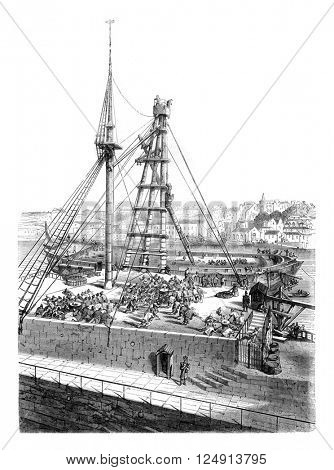 The machine mater in the port of Brest, vintage engraved illustration. Magasin Pittoresque 1847.