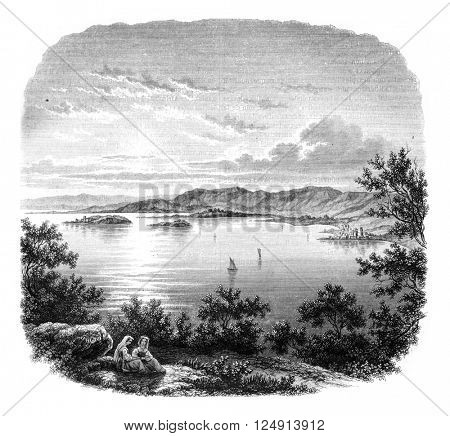 View of Lake Trasimeno, 12 km from Perugia, vintage engraved illustration. Magasin Pittoresque 1847.