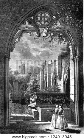 View taken in the cloister of the abbey of Peace, Cyprus, vintage engraved illustration. Magasin Pittoresque 1847.