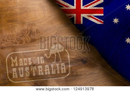 Made in Australia. The national flag of Australia stylized sackcloth.