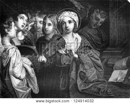 St. Cecilia, by Domenichino, vintage engraved illustration. Magasin Pittoresque 1847.