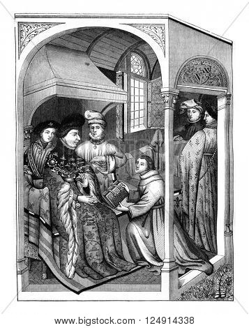 Presentation of a book to the Duke of Burgundy John the Fearless, On after a manuscript of the Royal Library executed in 1409, vintage engraved illustration. Magasin Pittoresque 1847.