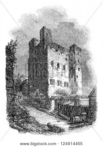 Rochester Castle, vintage engraved illustration. Colorful History of England, 1837.