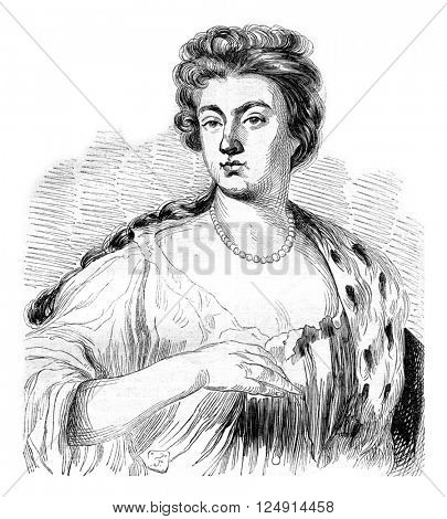 Sarah Jennings, Duchess of Marlborough, vintage engraved illustration. Colorful History of England, 1837.