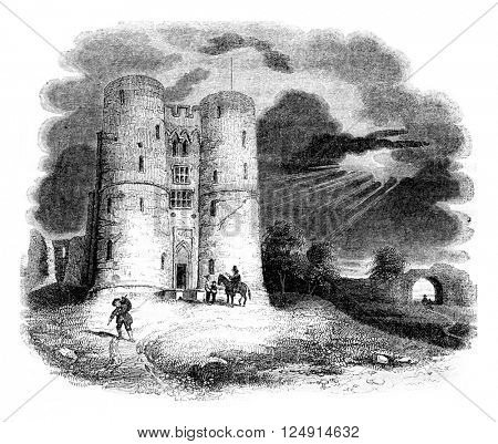View from the castle of Coventry, was locked or Mary Stuart, vintage engraved illustration. Colorful History of England, 1837.