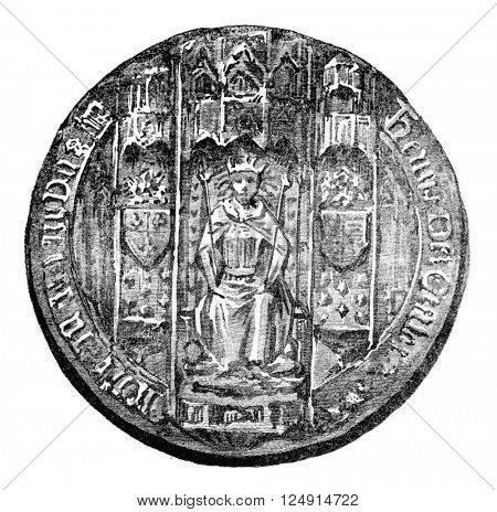 Seal of Henry VI, vintage engraved illustration. Colorful History of England, 1837.