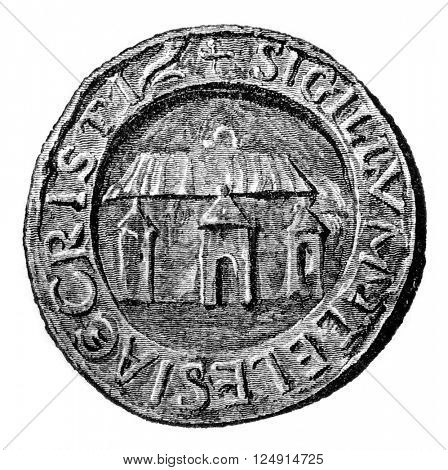Seal of Canterbury Cathedral, vintage engraved illustration. Colorful History of England, 1837.
