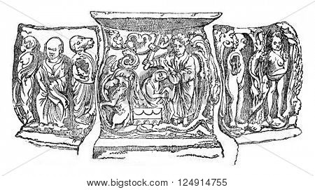 Bas-relief of an altar in the Cathedral of Oxford, vintage engraved illustration. Colorful History of England, 1837.
