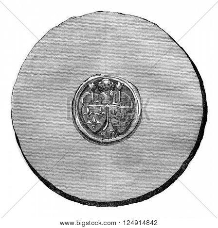 Seal against Henry IV, vintage engraved illustration. Colorful History of England, 1837.