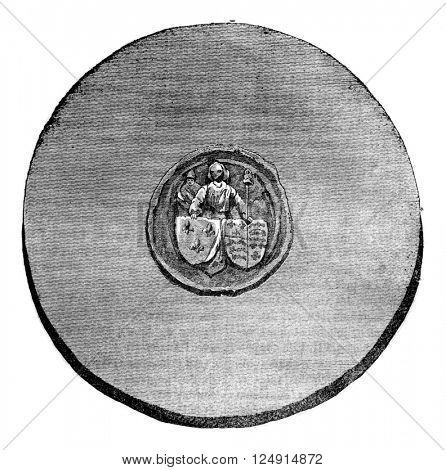Seal against Henry VI, vintage engraved illustration. Colorful History of England, 1837.