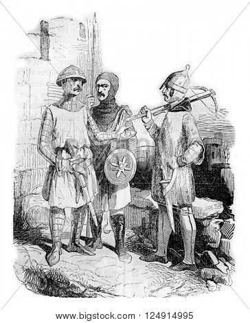 Costumes of the time of Henry III, vintage engraved illustration. Colorful History of England, 1837.
