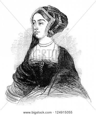 Portrait of Anne Boleyn, vintage engraved illustration. Colorful History of England, 1837.