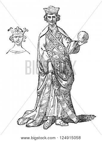 Royal robe, ceremonial dress, vintage engraved illustration. Colorful History of England, 1837.