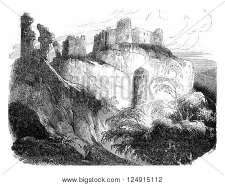 Gaillard Castle ruins, built by Richard the Lionheart, Normandy, vintage engraved illustration. Colorful History of England, 1837.