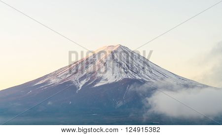 Mount fuji in autumn morning at kawaguchiko lake japan