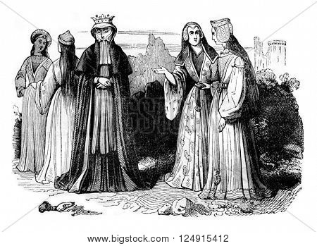 Women's costumes in the reign of Henry VII, vintage engraved illustration. Colorful History of England, 1837.