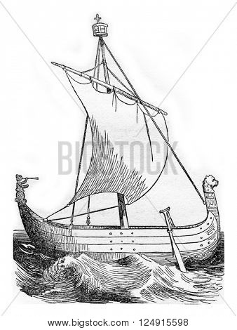 Montoit vessel that William the Conqueror to travel to England, vintage engraved illustration. Colorful History of England, 1837.