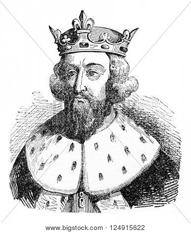Alfred the Great, vintage engraved illustration. Colorful History of England, 1837.