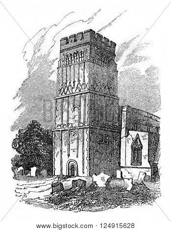 Tower of Earls Barton, Northamptonshire, vintage engraved illustration. Colorful History of England, 1837.