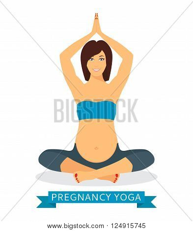 Pregnant yoga woman relaxing and meditating. Pregnant woman meditating while sitting in lotus position isolated on white background. Vector illustration.