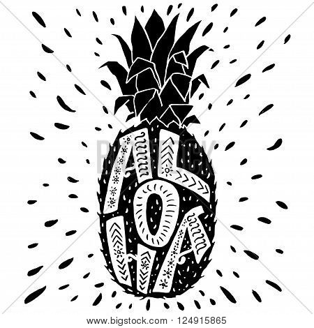 'Aloha' hand lettering in a pineapple silhouette. Fun summer typography illustration can be used as a print for t'shirts bags cards and posters.