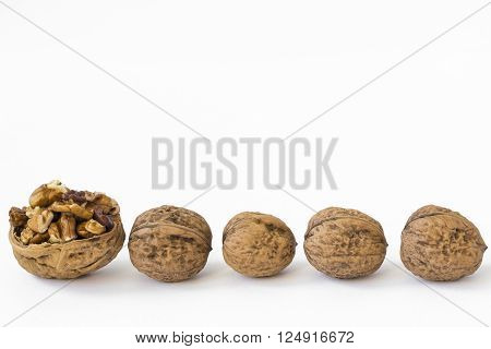 Four walnuts in line and a half walnut shell full of walnuts. Isolated on white background.