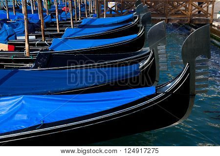 Traditional Gondolas at Venice Rialto main canal