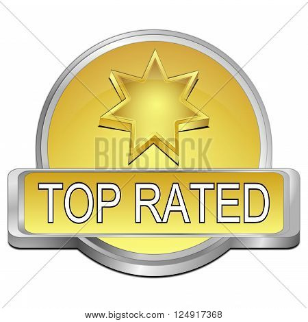 decorative golden Top Rated Button 3D Illustration