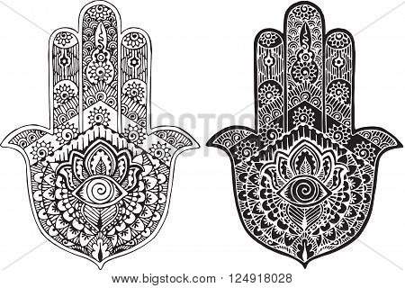 black and white drawing of a hand-drawn style mehendi