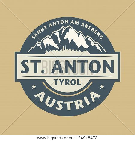Abstract stamp with the name of town St. Anton in Austria, vector illustration