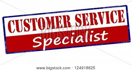 Rubber stamp with text customer service specialist inside vector illustration