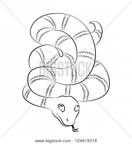 black and white snake image - perfect for children's coloring book and not only