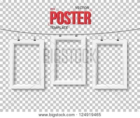 Illustration of Vector Poster Frame Mockup. Realistic EPS10 Vector Paper Poster Set on Bended Wire Isolated on PS Style Transparent Background