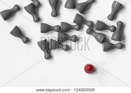 Some playing pawns on white background, with separated color.