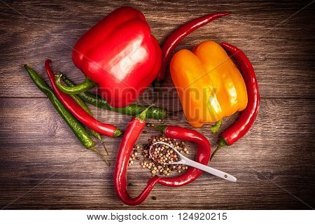 Fresh Vegetables With Spicy Pepper On Wood Deck