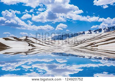 reflection of snow-capped mountains.spring weather in the mountains and reflections.water reflections of clouds.