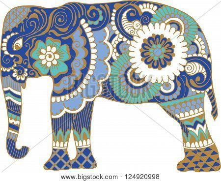 elephant with style mehendi patterns on a white background