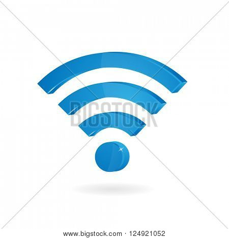 vector of abstract wifi signals on white