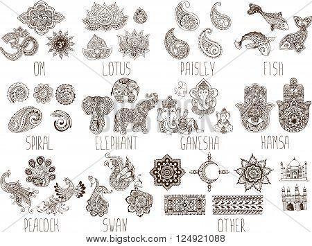 set of sketches mehndi symbols on a white background