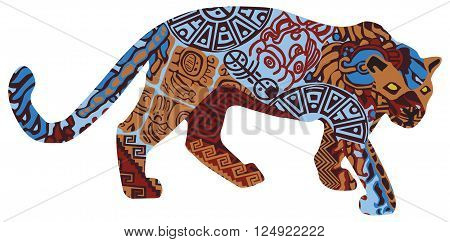 Jaguar on a white background in the patterns of the Indians of Central America