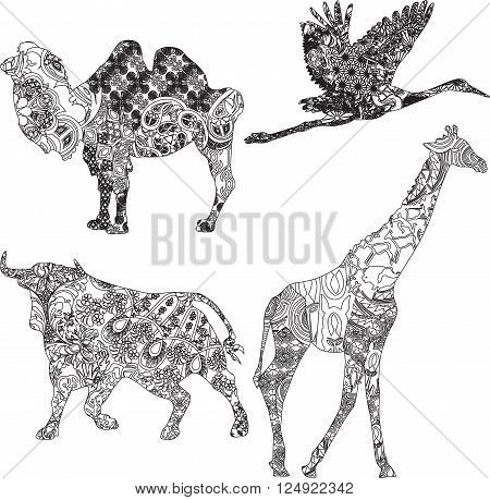 animals of different countries in ethnic ornaments on a white background