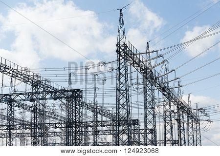 Power substation on blue sky
