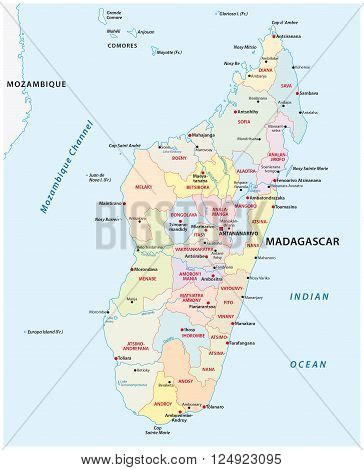 administrative and political map of the African island republic Madagascar