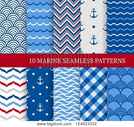 Ten marine different seamless patterns. Vector illustration for nautical design. Endless texture can be used for fills web page background surface. Set of sea backdrop with wave anchors and etc.