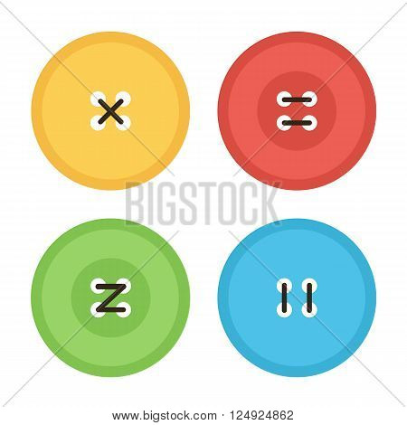 Colorful flat design clothing buttons with threads isolated on white background.